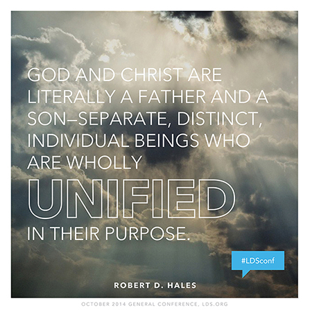 """An image of the clouds with the sun behind them, coupled with a quote by Elder Robert D. Hales: """"God and Christ are literally a Father and a Son."""""""