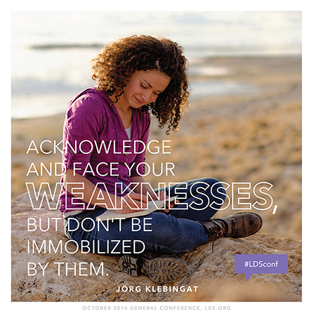 "An image of a girl writing in a journal, combined with a quote by Jörg Klebingat, ""Acknowledge and face your weaknesses."""