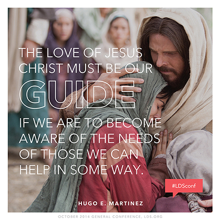 "An image of Christ comforting Mary and Martha, coupled with a quote by Elder Hugo E. Martinez: ""The love of Jesus Christ must be our guide."""