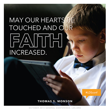 """An image of a young boy using an iPad, paired with a quote by President Thomas S. Monson: """"May our hearts be touched."""""""