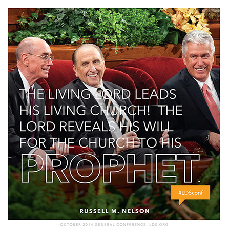 "An image of the First Presidency at conference, coupled with a quote by President Russell M. Nelson: ""The living Lord leads His living Church!"""