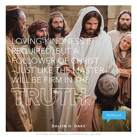 """An image of Christ and Thomas, paired with a quote by Elder Dallin H. Oaks: """"A follower of Christ … will be firm in the truth."""""""