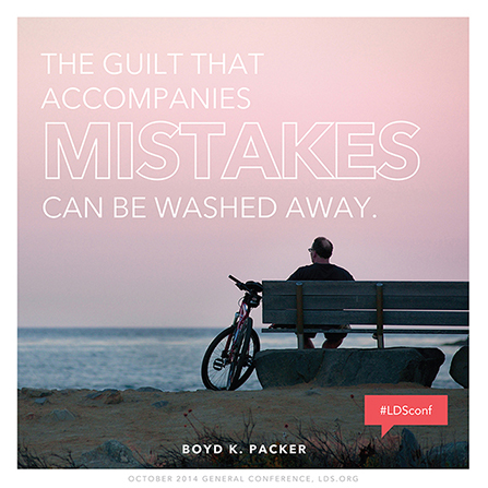 """An image of a man sitting near the ocean, coupled with a quote by President Boyd K. Packer: """"Guilt … can be washed away."""""""