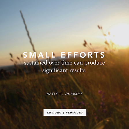 "A background of plants growing in a field at sunset, paired with a quote from Devin G. Durrant: ""Small efforts … produce significant results."""