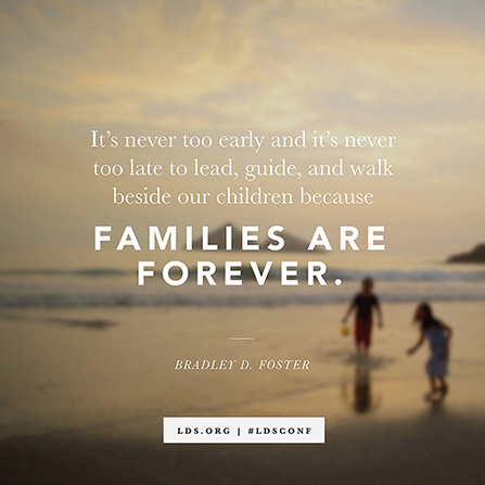 "A photograph of two children playing on a beach at dusk, with a quote from Elder Bradley D. Foster, ""Families are forever."""