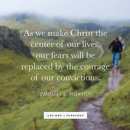 "A photograph of a couple hiking on a trail, with a quote from President Thomas S. Monson: ""Make Christ the center of our lives."""