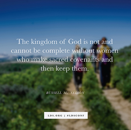 "A photograph of women walking down a dirt path, paired with a quote from President Russell M. Nelson: ""Women who make sacred covenants."""
