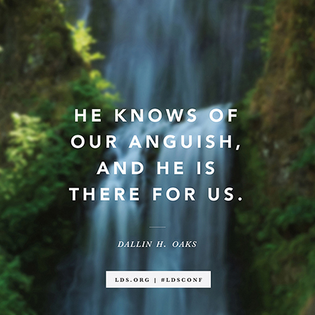 "A photograph of a waterfall combined with a quote from Elder Dallin H. Oaks, ""He knows of our anguish, and He is there for us."""