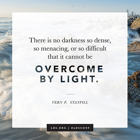 "A photograph of ocean waves in the sunlight with a quote from Elder Vern P. Stanfill: ""There is no darkness … that … cannot be overcome by light."""