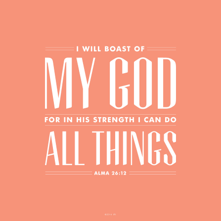 A plain pink background with the words from Alma 26:12 printed over the top.