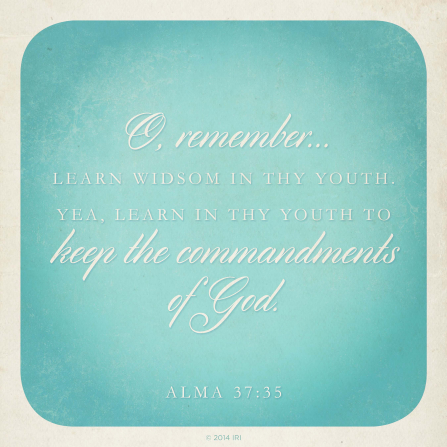 A white and blue background with the words of Alma 37:35 printed over the top.
