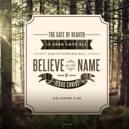 A photograph of the Sacred Grove paired with the words from Helaman 3:28.