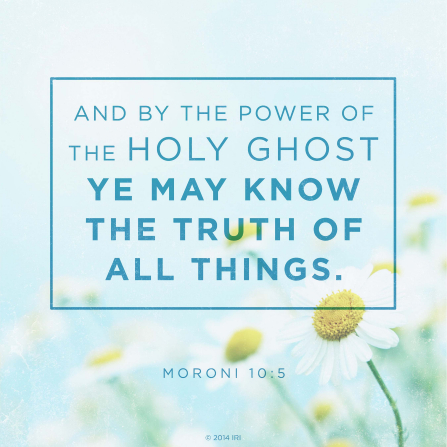 A photograph of daisies paired with the text of Moroni 10:5.