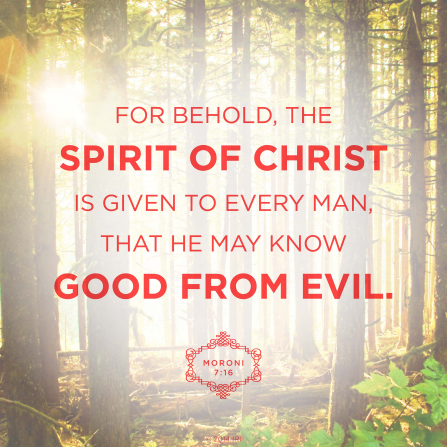 A photograph of the Sacred Grove combined with the words from Moroni 7:16.