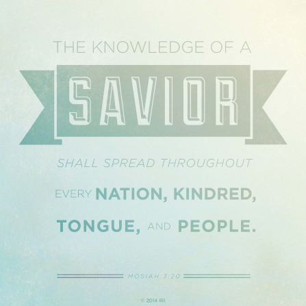 A light blue and green background with the words of Mosiah 3:20 printed over the top.