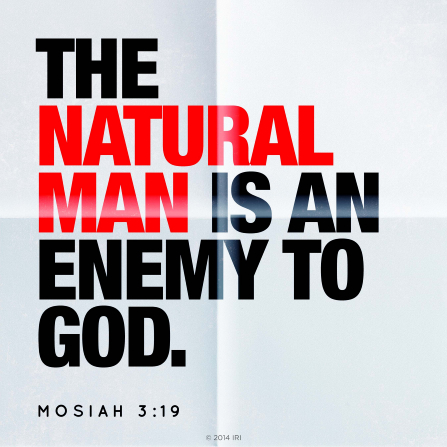 A graphic depicting a white piece of folded paper with the words from Mosiah 3:19 printed on it in black and red ink.
