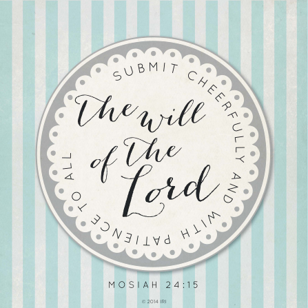 A white and blue striped background with the words of Mosiah 24:15 printed on a white and gray graphic in the center.