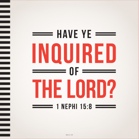A light gray background with black lines on the left side, paired with the words of 1 Nephi 15:8.