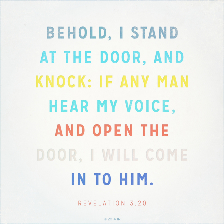 The words from Revelation 3:20 printed over a neutral off-white background in multiple colors.