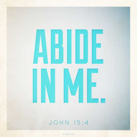 A white and blue gradient background with the words from John 15:4 printed over the top.