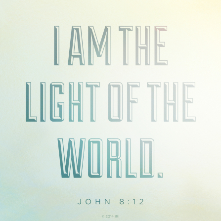 A faint light blue and yellow background combined with the text from John 8:12.