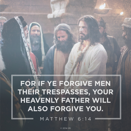 The words from Matthew 6:14 combined with a photograph portraying Jesus Christ in captivity.