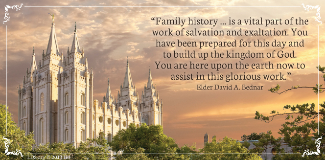 "An image of the Salt Lake Temple coupled with a quote by Elder David A. Bednar: ""You have been prepared for this day and to build up the kingdom of God."""