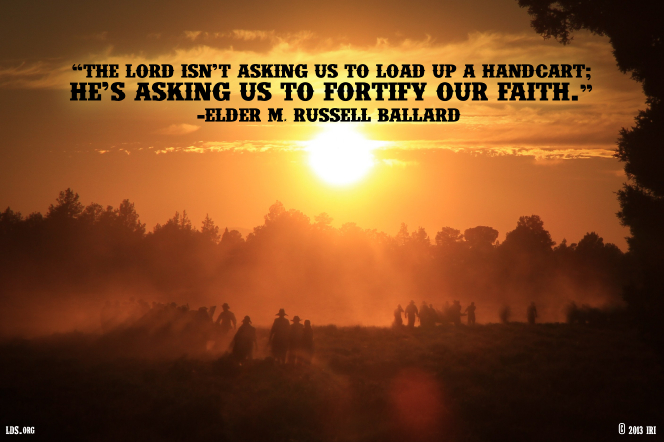 "An image of a sunset and silhouettes of people, with a quote by Elder M. Russell Ballard: ""He's asking us to fortify our faith."""