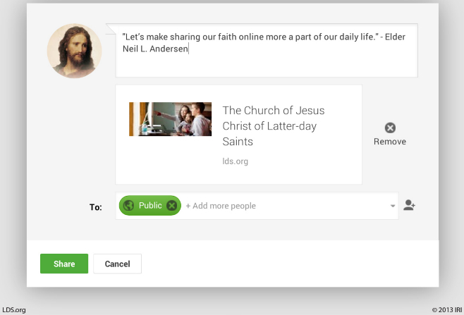 "A screenshot of an online social media platform with a quote by Elder Neil L. Andersen: ""Let's make sharing our faith … a part of our daily life."""