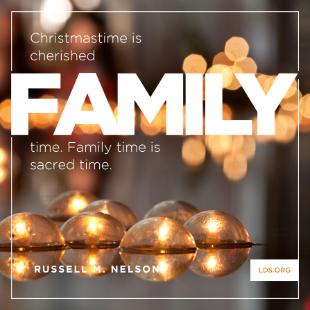 "An image of candles floating on water, coupled with a quote by President Russell M. Nelson: ""Christmastime is cherished family time."""