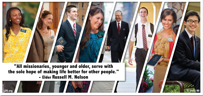 "Various photographs of missionaries combined with a quote by President Russell M. Nelson: ""Missionaries … serve with the sole hope of making life better for other people."""