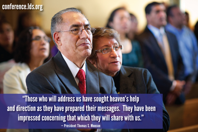 "An image of a couple at conference, combined with a quote by President Thomas S. Monson: ""Those who will address us have sought heaven's help."""