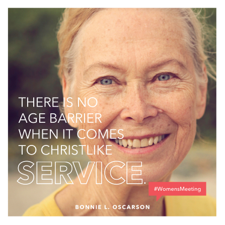 "An image of a woman smiling, paired with a quote by Sister Bonnie L. Oscarson: ""There is no age barrier when it comes to Christlike service."""