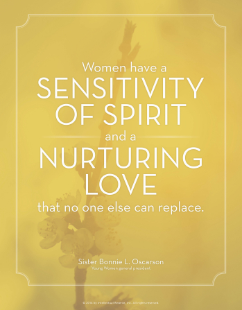 "A yellow textured background coupled with a quote by Sister Bonnie L. Oscarson: ""Women have a sensitivity of spirit … that no one else can replace."""