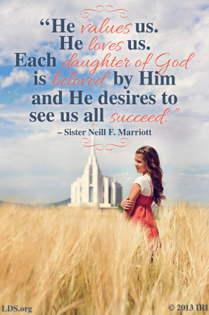 "An image of a young woman outside of the temple, coupled with a quote by Sister Neill F. Marriott: ""Each daughter of God is beloved by Him."""