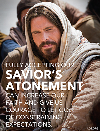 "An image of Jesus Christ combined with a quote from Elder Gerrit W. Gong: ""Fully accepting our Savior's Atonement can increase our faith."""
