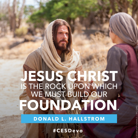 "An image of Christ comforting a woman, combined with a quote by Elder Donald L. Hallstrom: ""Jesus Christ is the rock."""