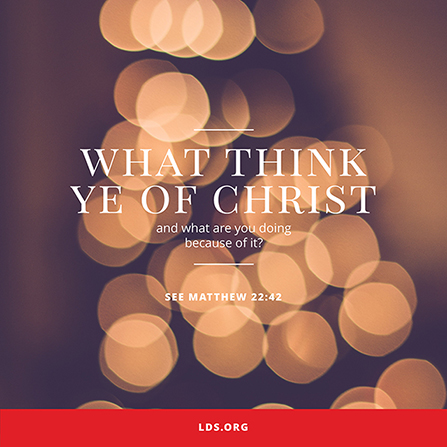 "A photograph of blurred-out Christmas lights combined with the words ""What think ye of Christ?"""
