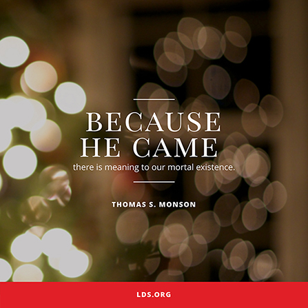 an image of blurred christmas lights coupled with a quote by president thomas s monson