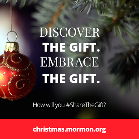 "An image of a Christmas ornament hanging on a tree, combined with the words ""Discover the gift. Embrace the gift."""