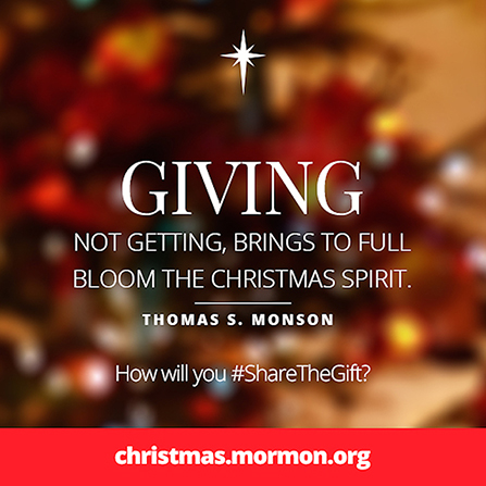 "A graphic with a blurred red and gold background combined with a quote by President Thomas S. Monson: ""Giving … brings to full bloom the Christmas spirit."""