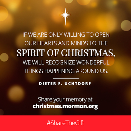 "An image of blurred lights and a quote by President Dieter F. Uchtdorf: ""If we are … willing to open our hearts … to … Christmas, we will recognize wonderful things."""