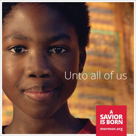 "A close-up view of a boy's face paired with the words ""Unto all of us."""