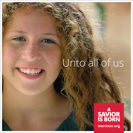 "A close-up photograph of a young woman with blond hair and freckles, paired with the words ""Unto all of us."""