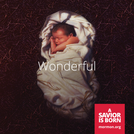 "A depiction of baby Jesus wrapped in a blanket, lying on straw, with the word ""Wonderful"" in the center."