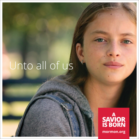 "A close-up photograph of a young woman with brown hair, paired with the words ""Unto all of us."""