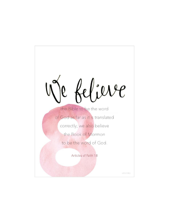 A white background with a large number 8 printed in red, paired with the words of Articles of Faith 1:8.