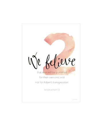 A white background with a large number 2 printed in red, paired with the words of Articles of Faith 1:2.