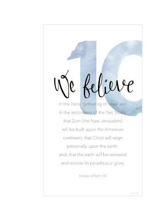 A white background with a large number 10 printed in blue, paired with the words of Articles of Faith 1:10.