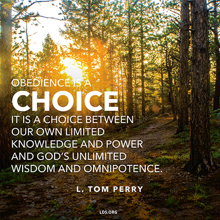 "An image of a sunset and trees, coupled with a quote by Elder L. Tom Perry: ""Obedience … is a choice between our own limited knowledge … and God's … omnipotence."""